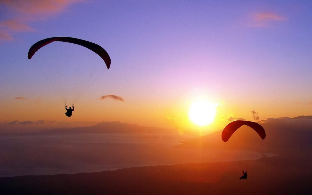 paragliding-at-sunset